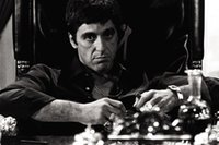 Wholesale Poster Scarface - Free shipping 24x35 inch Al Pacino Scarface Tony Montana Gun,godfather Movie,Poster HD HOME WALL Decor Custom ART Silk PRINT unframed -359