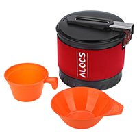 Wholesale Heat Measures - ALOCS CW S10 Outdoor Tablewares 1.3L Camping Pot With Folding Handle Heat Exchange New Arrival Camping Cookware With Bowl Cup newly B