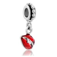 Wholesale red lip flowers resale online - Factory directly sale Halloween Red Vampire Lips Tusks Dangle Charm European DIY bead fit Pandora Chamilia Biagi bracelet
