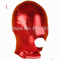 Femmes Hommes Sexy Toys Fetish Slave Face Spandex Open Mouth Hood Mask Bondage Audlt Jeux Sex Products rouge noir