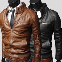 Wholesale denim jacket men leather sleeve - 2015 Men's vintage Soft PU leather jacket long sleeve long slim Shell leather denim Outerwear Coats M L XL XXL XXXL