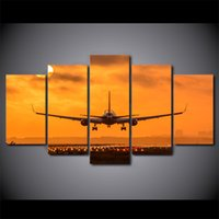 airplane prints Australia - 5 Pcs Set Sunset Airplane Take Off Landscape Canvas Wall Art Home Decor For Living Room Poster HD Printed Picture Painting