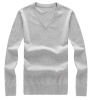Wholesale Fashion Branded Men s V Neck Winter Sweater Plain knitting Cotton pullover Mens Jumpers