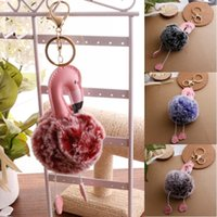 Wholesale Two Rings Balls - 7 Styles Gradient Color Two-Color Fur Ball Keychain Women Bag Backbag Car Flamingo Key Ring Pendant Accessories 7 Styles D195Q