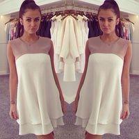 Wholesale Ladies Chiffon Vest - 2015 Summer Blouse Sleeveless Women's Chiffon Peplum Casual Blouse Vest Long Back T Shirt for Women Lady Dress Clothing Newest F050