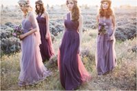 Wholesale Toast Gown - Lavender Cheap Long Bridesmaid Dresses 2016 Sheer Tulle A Line Maid of Honor Toast Convertible Dresses Formal Wedding Party Gowns Custom