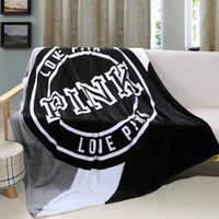 Wholesale Beach Hand Towels - Love Pink Letter Blanket 130*150cm Soft Coral Velvet Fleece Beach Towel Blankets Comfortable Fashion Air Conditioning Blanket