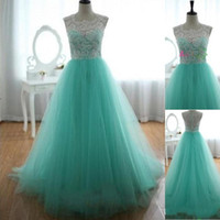 2016 Lace Vintage Formal Evening Party Dresses Mint Green Crew Neck Tulle Floor Length A Line Bridesmaid Prom Dresses Свадебные платья Платья