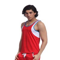 Wholesale Tank Top Undershirts Women - 2016 New Fashion Tank Top Mens Sport Bodybuilding Stringer Tank Tops Red Polyester Mens GYM Singlets Undershirt Size S M L XL