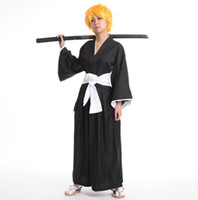 Wholesale kimono pants - Japanese Anime BLEACH Death Cosplay Costume Shinigami Kimono Specifications Black Fitted Cosplay unisex Top + Pants