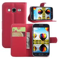 kimlik sahibi flip cüzdan toptan satış-Samsung galaxy Core Başbakan G3608 Litchi Deri Cüzdan KIMLIK Kredi Kartı Tutucu Flip Case Kapak Standı 9 renkler seçin