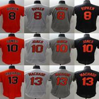 Wholesale Red Base - Men's Flex base Jersey #8 Cal Ripken #10 Adam Jones #13 Manny Machado Embroidery Baseball Flexbase Jerseys Free Drop Shipping