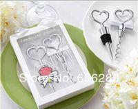 Wholesale Wedding Souvenir Wine - Heart Combination wine corkscrew wine opener and Wine Bottle Stopper Sets Wedding Souvenirs Guests 60pcs(30pairs)