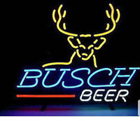 """Wholesale Neon Busch Beer Signs - BUSCH BEER Deer Bar Neon Sign Light Commercial neon sign Real Glass Tube Home Pub Display Sign 17""""X14"""""""