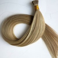 Wholesale medium tips - Pre bonded I Tip Brazilian Human Hair Extensions 50g 50Strands 18 20 22 24inch M8&613 Straight Indian Hair products