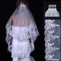 Wholesale double layer veils - Wedding Veil High-grade Veil Wedding Veil High-grade Lace Edge and Net Yarn Veil Hot Elegant White and Double Tail Veil Attached to Comb