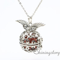 Wholesale make your own necklace resale online - wings ball openwork essential oil necklace aromatherapy lockets make your own oil diffuser perfume locket