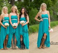 vestidos de dama de honor de color turquesa debajo al por mayor-2017 turquesa alto bajo vestidos de dama de honor barato bajo 100 modestos Western Country gasa Wedding Party Guest vestidos más tamaño Boho maternidad