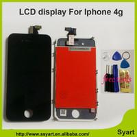 iphone lcd tafelpreise großhandel-Großhandels-Schwarz-weiße Farbe Bester Preis 4g LCD-Anzeige für iphone 4 LCD-Schirm mit Touch-Glaspanel-Analog-Digital wandler-Bildschirm-Zusammenbau-Ersatz