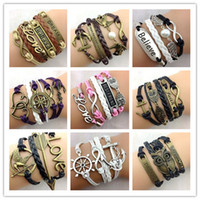 Wholesale bracelet knit - 30pcs Designs Leather Bracelet Antique Cross Anchor Love Peach Heart Owl Bird Believe Pearl Knitting Bronze Charm Bracelets C2182