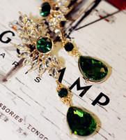 Wholesale feather diamond earrings - Earrings for Woman Statement Fashion Jewelry Brand Design New Korean Crystal Drop Earring Diamond Gemstone Wing Feathers Bohemian Earrings