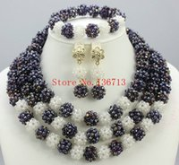 Wholesale Wedding Dresses For Dinner - New year big sale! Classic Orange red blue Nigerian african beads jewelry set sets in wedding party dinner dress for women BS303-9