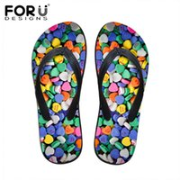 FORUDESIGNS Moda Candy Color Rubber Flip Flops para mulheres Summer Beach Water Slippers Confortável Soft Bottom Sandals Shoes
