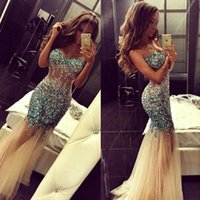 Wholesale Evenign Dresses - 2016 Sexy Blingbling Illusion Bodice Evenign Dresses Sweetheart Beaded Crystals Backless See Through Mermaid Long Prom Party Gowns BA1303