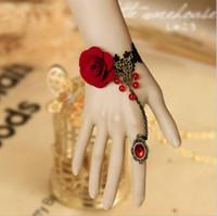 anel de pulseira de renda flor rosa venda por atacado-Laço do arco-íris anel de dança do ventre pulseira rosa flor BangLace arco-íris anel de dança do ventre pulseira rosa flor pulseira nupcial bijuterias BB05