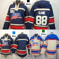 ingrosso felpe con cappuccio in bianco-2016 nuovo, 2015 squadra USA Cheap Hockey su ghiaccio Jersey Felpa con cappuccio # 88 Patrick Kane Blank Hockey su ghiaccio americano Felpe con cappuccio / Felpa con cappuccio