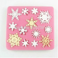 Wholesale Snowflakes Cake Mold Silicone - 1PC Hot Snowflake Stylist Silicone Fondant Cake Mold Soap Chocolate Mould Clay Mould DIY Tool Decorating Cake Drop Free
