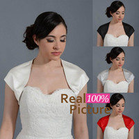 Wholesale Cap Sleeve Accessories - 2015 Simple Satin Bridal Bolero Jackets Front Open Neck Cap Sleeves Wedding Wrap Shrug New Arrival Custom Made Cheap Wedding Accessories