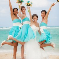 Wholesale Online Bridesmaids Dresses - 2016 Simple Blue Chiffon Short Bridesmaid Dresses Strapless vestido longo with White Bow Sash Party Gowns Knee Length Cheap Online Custom