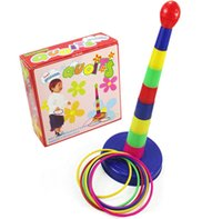 ingrosso giocattoli di giardino di plastica-Giocattolo per bambini Bambini Bambini Outdoor Colorato Anello di plastica Toss Quoits Gioco da giardino Giocattolo Gioco Set Giochi familiari Puzzle Game Outdoor