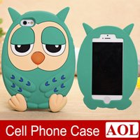 Wholesale 3d Iphone 4s Cat Case - For iphone 6 6s Plus 5s 5 4s 4 3D Cartoon Night Owl Cat Successor Silicone Rubber Case Cover for Samsung Galaxy Note3