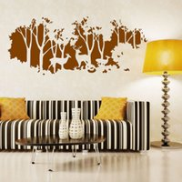 Wholesale Wall Murals For Cheap - 2017 New Design Art Deers in Forest Wall Sticker Trees Home Decor Creative Vinyl Cheap Removable Wall Decals