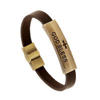 Wholesale Lettering Metal Bracelet - Bronze metal ID Leather Bracelets Hollow Cross bracelet lettering GOD BLESS Bracelet Unisex Magnet buckle bracelet Lovers Bracelet jewelry