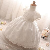 Wholesale- Baby Frock Design Toddler Girl Lace battesimo abito bianco Tulle Infant Princess Battesimo Dress Baby Girls 1 ° Compleanno Abiti