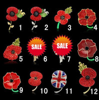 Wholesale Poppy Charms - women children bling Crystal Rhinestone Brooches Princess Kate royal poppy flower brooch charms jewelry lady kids Chirstmas party 30PCS