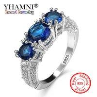 gemas naturais diamante venda por atacado-YHAMNI Moda 7 Cores Authentic 100% 925 Sterling Silver Ring Set 3 pcs Natural Gem Diamante CZ Anel de Jóias de Casamento Original KYRA078