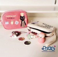 Wholesale Bag Red Cat - Free shipping Cartoon cute black cats Zipper coin purses,Coin Wallet Purse Bags,phone bag,Chirstmas gift,10pcs lot,wholesale