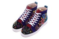 Compra Perline Rotonde Per Chiodi-Luxury Brand Red Bottom Sneakers nero in pelle scamosciata con punte Casual Uomo Donna Scarpe technicolor Round bead nails Scarpe da ginnastica Calzature Scarpe piatte