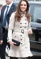 Wholesale Middleton Coat - Wholesale-Princess Kate Middleton Winter Coat 2015 Women Celebrity Fashion Brand B Design British Style Double-breasted Wool Trench Coat