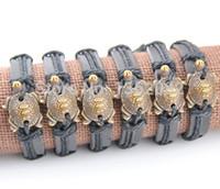 Wholesale Turtle Bangles - Wholesale Lot 12PCS Imitation Bone Carving Sea Turtles Surfing Leather Bracelet Bangles Gift MB81