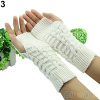 Wholesale Dong Man - 2015 Korean version of qiu dong season high quality wool rabbit hook flower half gloves Knitting women lengthened to keep warm