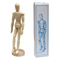 modelos de bonecas de manequins venda por atacado-8 polegada diy engraçado boneca de madeira fantoche modelo de pintura de madeira do artista masculino manequim manequim articulado mão blockhead fantoche brinquedos de aprendizagem presente sk365