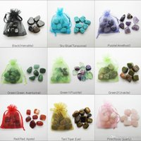 Wholesale amethyst crystals for sale for sale - Group buy Hot sale natural stone15 MM Turquoise agate crystal Amethyst Tumbled Irregular stone in pouch for healing reiki Wishing lucky stone