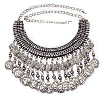 Wholesale large vintage pendant - Bohemian Vintage Silver Hollow Flower Moon Coin Long Tassels Large Choker Statement Necklaces & Pendants