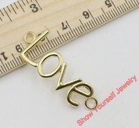 Wholesale Connector Ring Golden - 15pcs Antique Golden Plated Love Connectors Charm Pendant Jewelry Making Findings Accessories DIY Handmade Craft 40x16mm