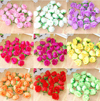 Wholesale Silk Flower Heads Inch - 15%off Silk Small Handmade Roses Artificial Silk Flower Heads Wedding Party Decoration 12 Colors 1.2 Inches